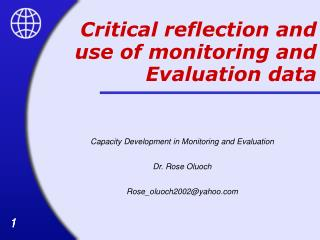 Critical reflection and use of monitoring and Evaluation data