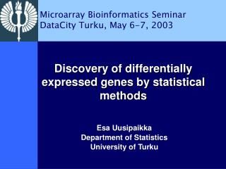 Discovery of differentially expressed genes by statistical methods