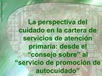 La perspectiva del cuidado en la cartera de servicios de atenci n primaria: desde el  consejo sobre  al  servicio de pro