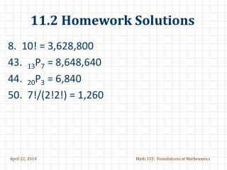 11.2 Homework Solutions
