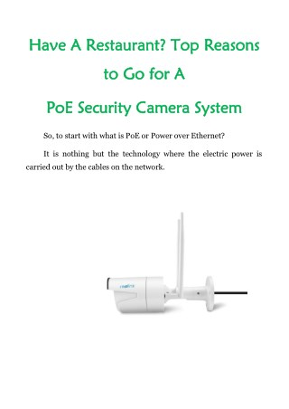 Have A Restaurant? Top Reasons to Go For A PoE Security Camera System