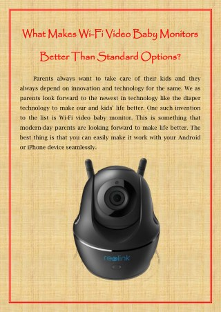 What Makes Wi-Fi Video Baby Monitors Better Than Standard Options?