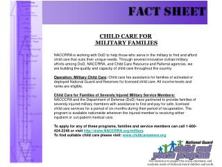 CHILD CARE FOR MILITARY FAMILIES