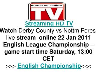 Derby County vs Nottm Forest live FLC Hq Tv Streaming