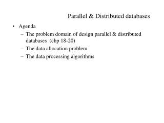 Parallel  Distributed databases
