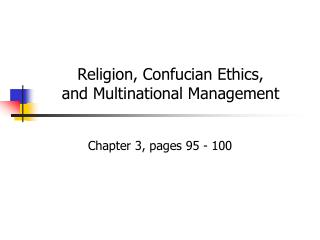 Religion, Confucian Ethics, and Multinational Management