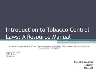 Introduction to Tobacco Control Laws: A Resource Manual