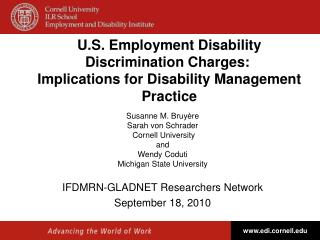 U.S. Employment Disability Discrimination Charges:   Implications for Disability Management Practice