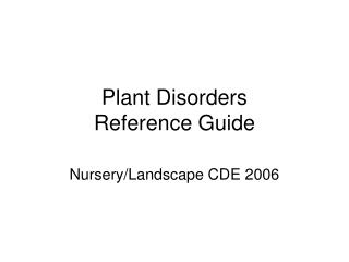 Plant Disorders