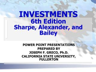 INVESTMENTS 6th Edition Sharpe, Alexander, and Bailey