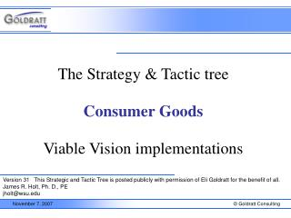 Consumer Goods Strategy and Tactic Tree