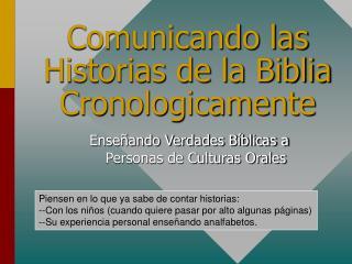Comunicando las Historias de la Biblia Cronologicamente