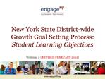 New York State District-wide Growth Goal Setting Process: Student Learning Objectives