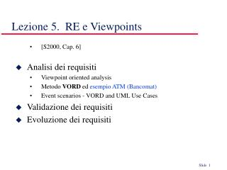 Lezione 5.  RE e Viewpoints
