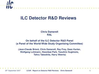 ILC Detector RD Reviews