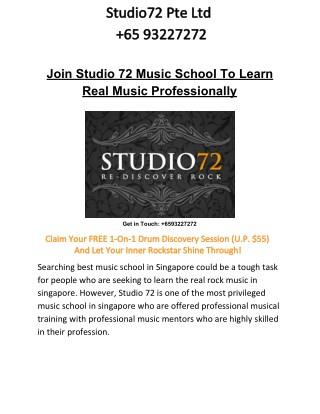 Join Studio 72 Music School To Learn Real Music Professionally