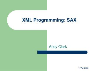 XML Programming: SAX