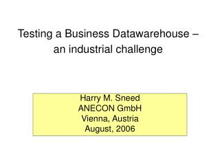Testing a Business Datawarehouse   an industrial challenge