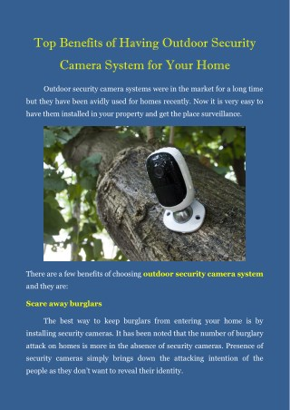 Top Benefits Of Having Outdoor Security Camera System For Your Home