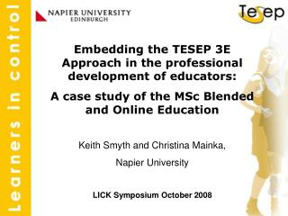 Embedding the TESEP 3E Approach in the professional development of educators: A case study of the MSc Blended and Online