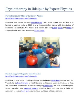 Physiotherapy in Udaipur by Expert Physios