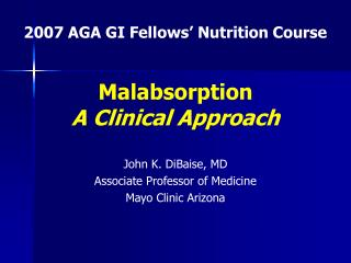 Malabsorption A Clinical Approach