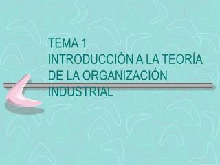TEMA 1 INTRODUCCI N A LA TEOR A DE LA ORGANIZACI N INDUSTRIAL