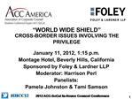 WORLD WIDE SHIELD  CROSS-BORDER ISSUES INVOLVING THE PRIVILEGE