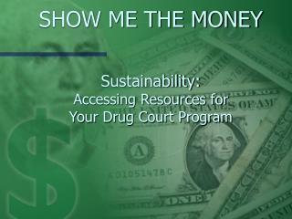 SHOW ME THE MONEY   Sustainability: Accessing Resources for  Your Drug Court Program