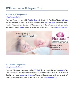 IVF Centre in Udaipur Cost