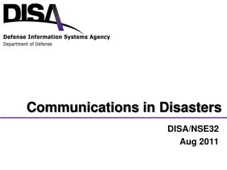 Communications in Disasters
