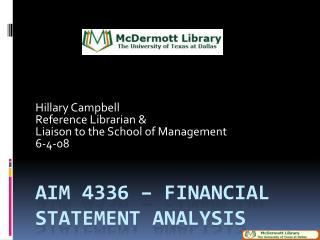AIM 4336 – Financial Statement Analysis