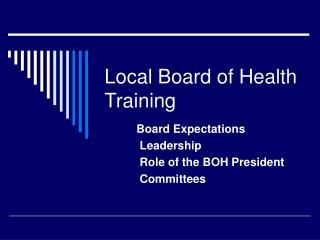 Local Board of Health Training
