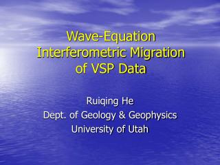 Wave-Equation  Interferometric Migration  of VSP Data