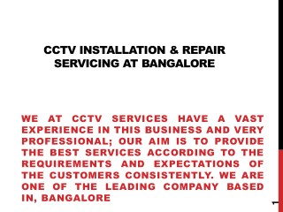 Cctv Camera Services, Installation's And Repair's
