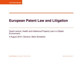 European Patent Law and Litigation