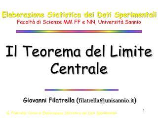 Elaborazione Statistica dei Dati Sperimentali Facolt  di Scienze MM FF e NN, Universit  Sannio