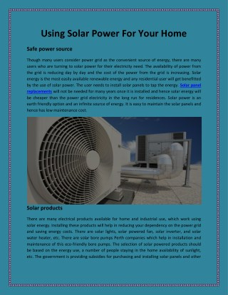 Using Solar Power For Your Home