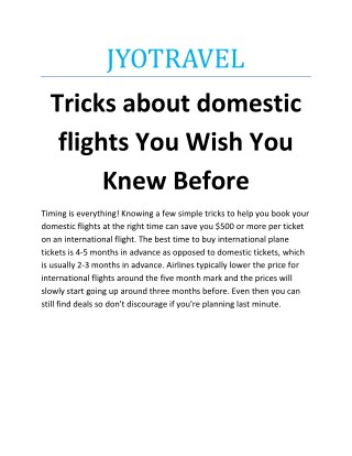 Tricks about domestic flights You Wish You Knew Before