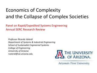 Economics of Complexity  and the Collapse of Complex Societies  Panel on Rapid