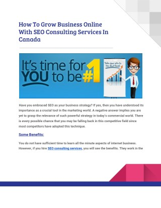 Grow Your Online Business With SEO Consulting Services In Canada