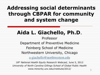 Addressing social determinants through CBPAR for community and system change