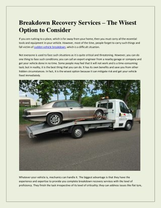 Breakdown Recovery Services – The Wisest Option to Consider