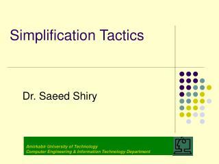 Simplification Tactics