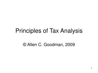 Principles of Tax Analysis