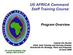 US AFRICA Command Staff Training Course