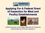 Applying For A Federal Grant of Inspection for Meat and Poultry Establishments