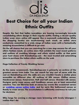 Best Choice for all your Indian Ethnic Outfits