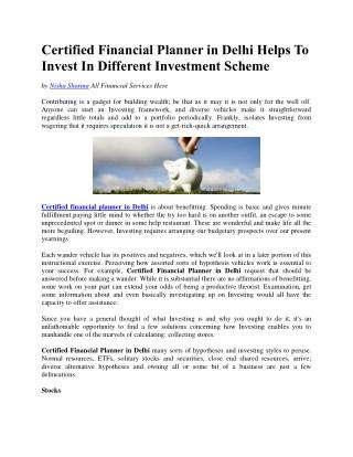 Certified Financial Planner in Delhi Helps To Invest In Different Investment Scheme