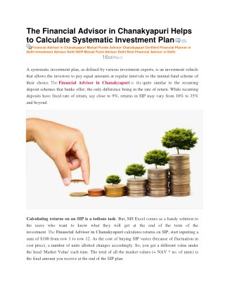 The Financial Advisor in Chanakyapuri Helps to Calculate Systematic Investment Plan